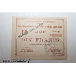 County 08 - MEZIERES BRAUX - VOUCHER OF 10 FRANCS 1915 - BANK 'CAISSE D'EPARGNE' - SPECIMEN