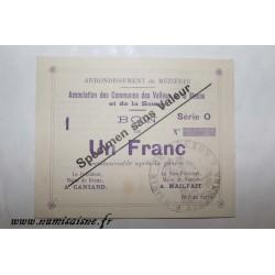 County 08 - MEZIERES BRAUX - VOUCHER OF 1 FRANC 1915 - BANK 'CAISSE D'EPARGNE' - SPECIMEN