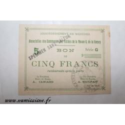 County 08 - MEZIERES BRAUX - VOUCHER OF 5 FRANCS 1915 - BANK 'CAISSE D'EPARGNE' - SPECIMEN