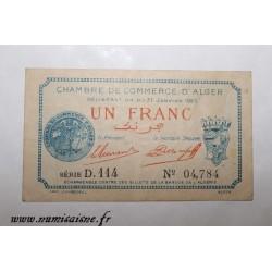 ALGERIA - ALGER - 1 FRANC 1923 - 31 Janvier - CHAMBER OF COMMERCE - D.114