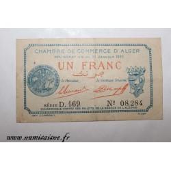 ALGERIA - ALGER - 1 FRANC 1923 - 31 Janvier - CHAMBER OF COMMERCE - D.169