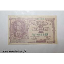 BELGIUM - 1 FRANC 1918 - 24.10 - BANK 'SOCIÉTÉ GÉNÉRALE'