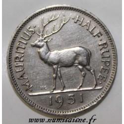 MAURITIUS - KM 28 - 1/2 ROUPIE 1951 - DEER