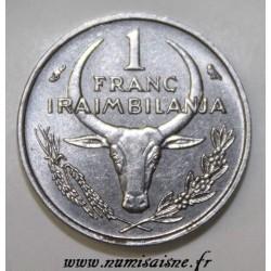 MADAGASCAR - KM 8 - 1 FRANC 1966 - ZEBU