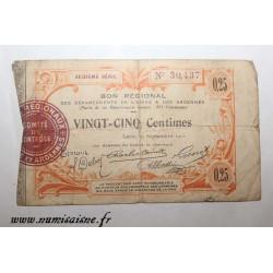 02 - LAON - BON DE 25 CENTIMES 1915 - 19.09 - SÉRIE 16