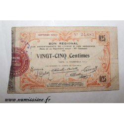 County 02 - LAON - VOUCHER OF 25 CENTIMES 1915 - 19.09 - SERIE 7