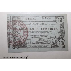 County 02 - LAON - VOUCHER OF 50 CENTIMES 1916 - SERIE 34 - 16.06