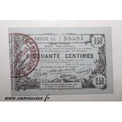 02 - LAON - BON DE 50 CENTIMES 1916 - 16.06 - SERIE 13 - DV