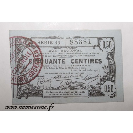 County 02 - LAON - VOUCHER OF 50 CENTIMES 1916 - 16.06