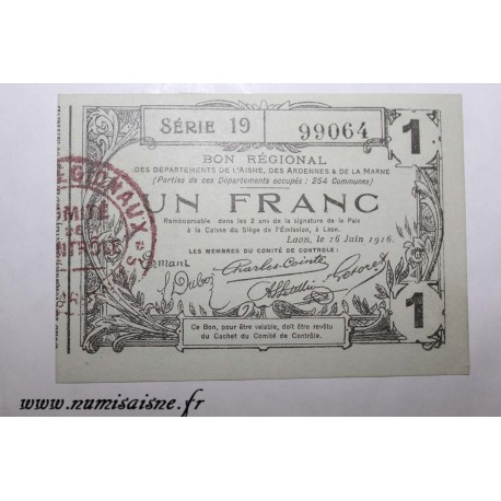 County 02 - LAON - VOUCHER OF 1 FRANC 1916 - 16.06 - SERIE 19
