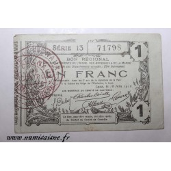 County 02 - LAON - VOUCHER OF 1 FRANC 1916 - 16.06 - SERIE 13