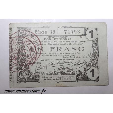 County 02 - LAON - VOUCHER OF 1 FRANC 1916 - 16.06 - SERIE 13