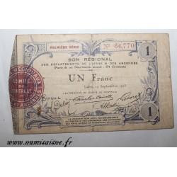 02 - LAON - BON DE 1 FRANC 1915 - 19.09 - SERIE 1 - DV