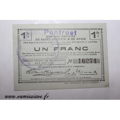 County 02 - LAON - VOUCHER OF 1 FRANC 1916 - 08.08