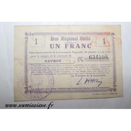 County 02 - NAUROY - VOUCHER OF 1 FRANC - UNDATED