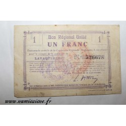 County 02 - LAVAQUERESSE - VOUCHER OF 1 FRANC - UNDATED