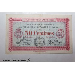 County 02 - MOULINS ET LAPALISSE - VOUCHER OF 50 CENTIMES 1920 - 09.01 - SERIE 295 - UNDATED