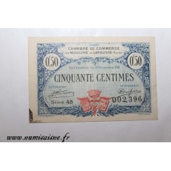 County 02 - MOULINS ET LAPALISSE - VOUCHER OF 50 CENTIMES 1921 - 17.11 - SERIE 45 - UNDATED
