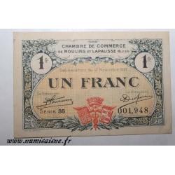 02 - MOULINS ET LAPALISSE - BON DE 1 FRANC 1921 - 17.11 - SERIE 35 - DV