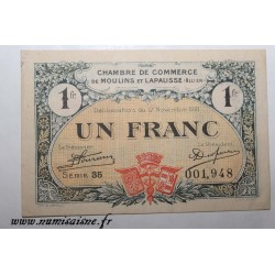 County 02 - MOULINS ET LAPALISSE - VOUCHER OF 1 FRANC 1921 - 17.11 - SERIE 35 - UNDATED