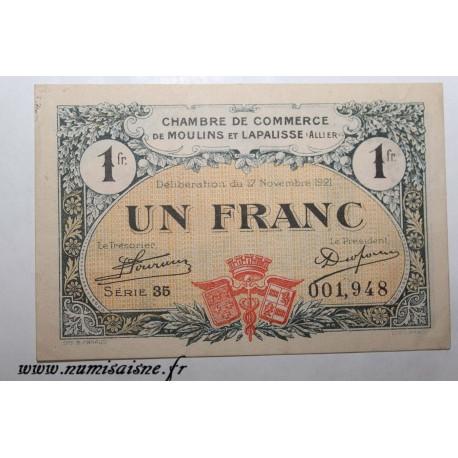 County 02 - MOULINS ET LAPALISSE - VOUCHER OF 1 FRANC 1921 - 17.11 - SERIE 35 - UNDATED