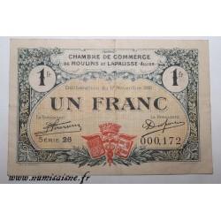 02 - MOULINS ET LAPALISSE - BON DE 1 FRANC 1921 - 17.11 - SERIE 26 - DV