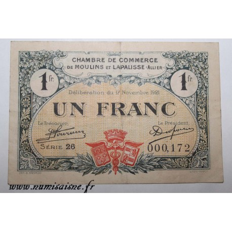 County 02 - MOULINS ET LAPALISSE - VOUCHER OF 1 FRANC 1921 - 17.11 - SERIE 26 - UNDATED