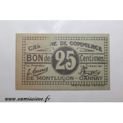 County 03 - MONTLUÇON - 25 CENTIMES - CHAMBER OF COMMERCE