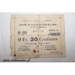 County 08 - MEZIERES BRAUX - VOUCHER OF 20 CENTIMES - BANK 'CAISSE D'EPARGNE'