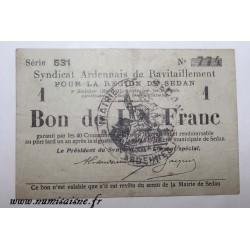 County 08 - SEDAN - VOUCHER OF 1 FRANC 1917