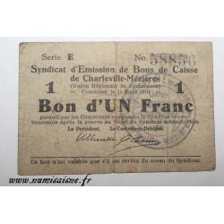 County 08 - CHARLEVILLE-MÉZIÈRES - VOUCHER OF 1 FRANC 1916 - 11.03