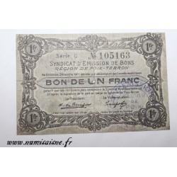 County 08 - POIX TERRON - VOUCHER OF 1 FRANC 1917