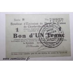 County 08 - CHARLEVILLE-MÉZIÈRES - VOUCHER OF 1 FRANC 1916