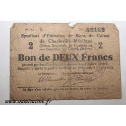 08 - CHARLEVILLE-MÉZIÈRES - BON DE 2 FRANCS 1916 - 11.03 - DV