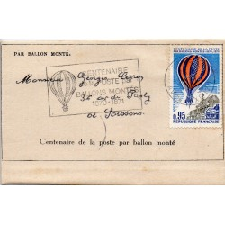 FRANCE - CENTENARY OF THE POST OFFICE BY BALLON MONTE - 1870-1970