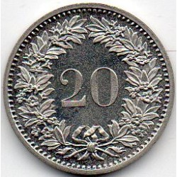 SWITZERLAND - KM 29.a - 20 CENTIMES 1980 - HEAD OF LIBERTAS
