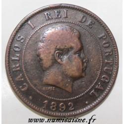 PORTUGAL - KM 533 - 20 REIS 1892 - CARLOS I (1891-1892)