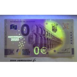 SPAIN - TOURISTIC 0 EURO SOUVENIR NOTE - SEGOVIA AQUEDUCT - ANNIVERSARY - 2020