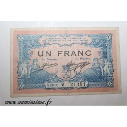 County 26 - VALENCE - 1 FRANC 1915 - 23.02 - CHAMBER OF COMMERCE