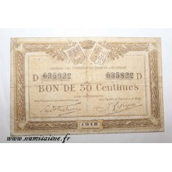 County 29 - QUIMPER - 50 CENTIMES 1918 - CHAMBER OF COMMERCE