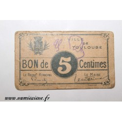 County 31 - TOULOUSE - VOUCHER OF 5 CENTIMES
