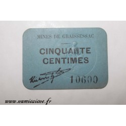 County 34 - GRAISSESSAC - 50 CENTIMES - MINES