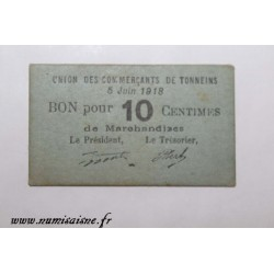 County 47 - TONNEINS - VOUCHER OF 10 CENTIMES 1918 - 05.06