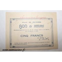 County 53 - MAYENNE - VOUCHER OF 5 FRANCS