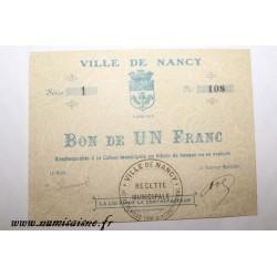 County 54 - NANCY - VOUCHER OF 1 FRANC 1914 - 02.08