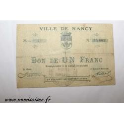 County 54 - NANCY - VOUCHER OF 1 FRANC 1914 - 08