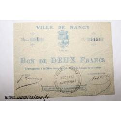 County 54 - NANCY - VOUCHER OF 2 FRANCS 1914 - 02.08
