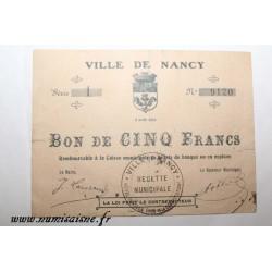 County 54 - NANCY - VOUCHER OF 5 FRANCS 1914 - 02.08