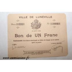 County 54 - LUNEVILLE - VOUCHER OF 1 FRANC 1914 - 10.08