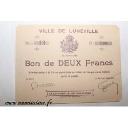 County 54 - LUNEVILLE - VOUCHER OF 2 FRANCS 1914 - 10.08